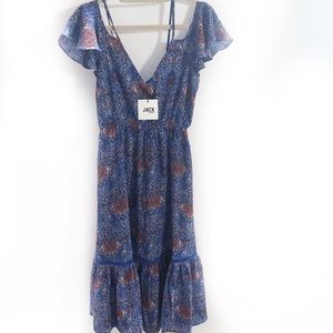 Jack By BB Dakota Paisley Blue Boho Midi Dress New